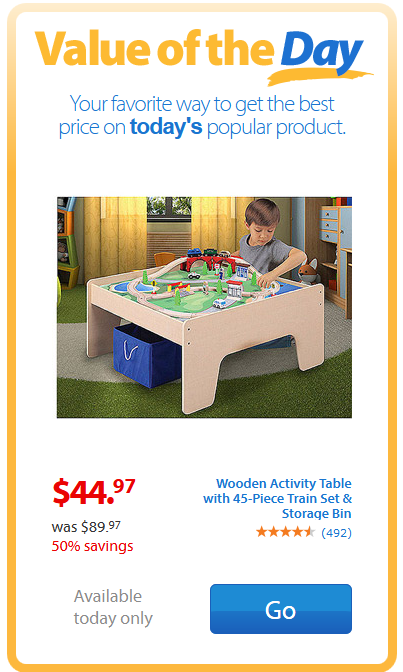 Walmart Value of the Day Wooden Activity Table with 45 Piece Train Set and Storage Bin  sc 1 st  I Heart The Mart & Walmart Value of the Day: Wooden Activity Table with 45 Piece Train ...